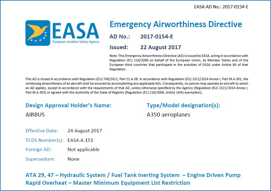 airbus-a350-easa-ad-emergency-airworthiness-directive-hydraulic-system-fuel-tank-overheat