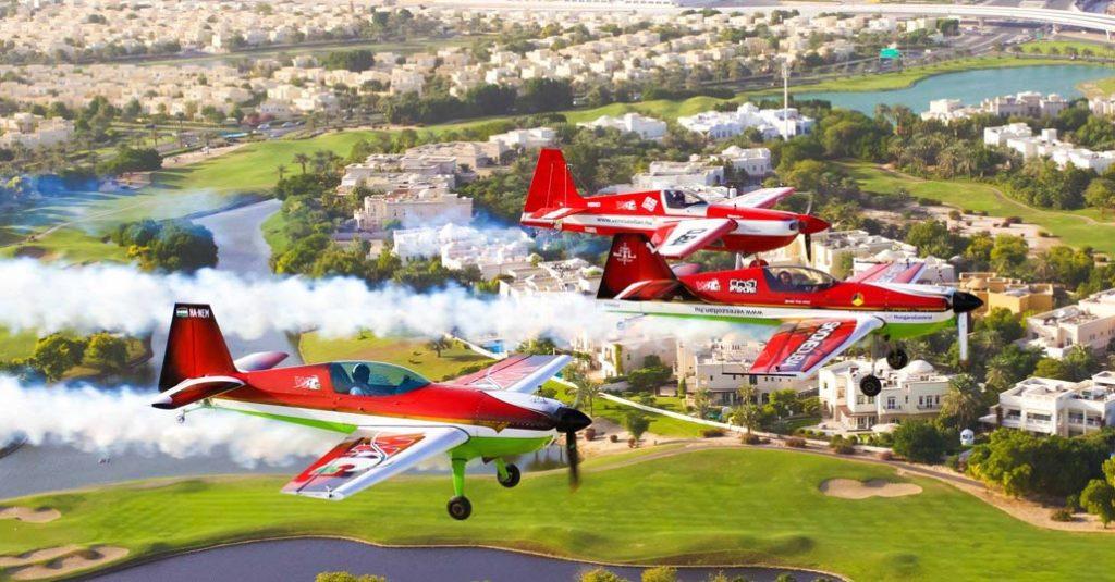 Vuelo en formación durante los World Air Games 2015