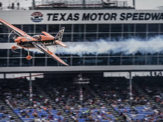 Nicolas Ivanoff flying at Texas Motor Speedway, Red Bull Air Race 2015 / Photo by Christian Pondella (RBAR-CP)