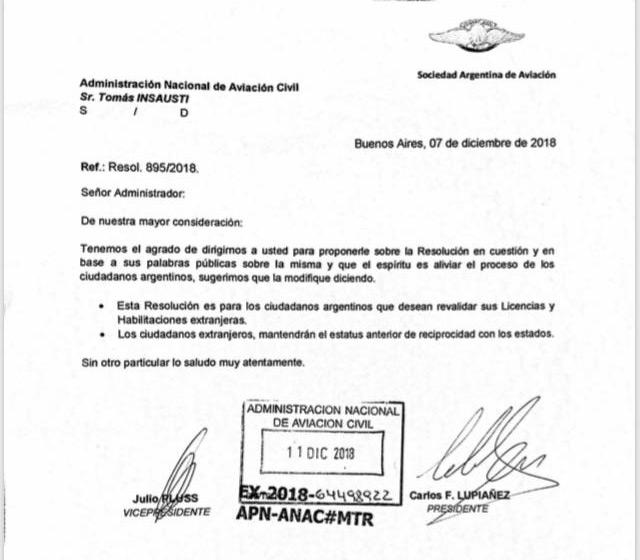 NOTA de la Asociación Argentina de Aviación, sobre modificaciones a la Resolución 895/18