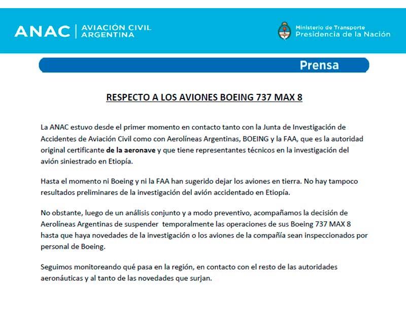 ANAC - Comunicado de prensa sobre los Boeing 737 MAX8 (03122019)