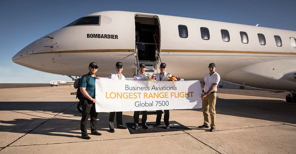 Bombardier Global 7500 Longest Range Flight