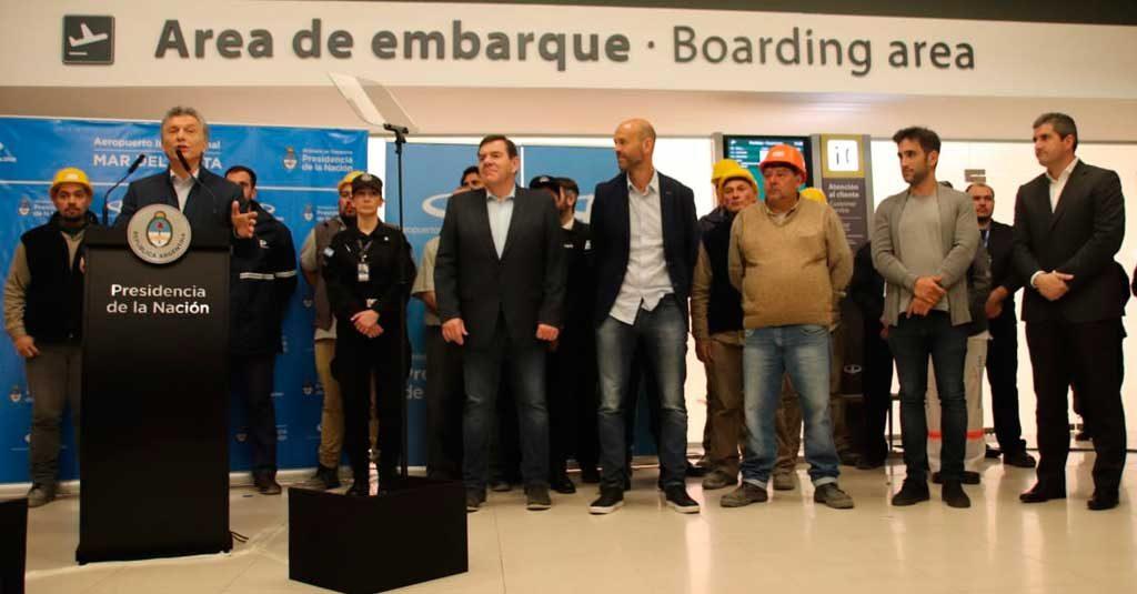 Mauricio Macri en la inauguración de las obras del Aeropuerto Internacional de Mar del Plata / Septiembre 2019