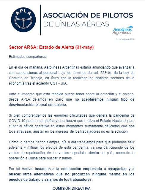 Comunicado APLA - 01062020
