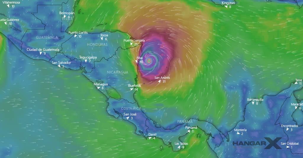 Huracán IOTA 16NOV2020 18:00UTC