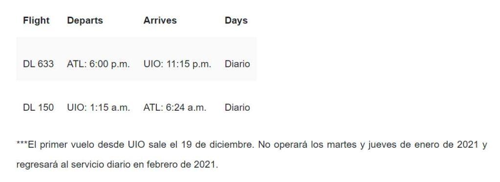 Delta reanuda vuelos a Ecuador (DIC/2020)