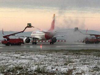 Nieve en Madrid activó la plataforma de deshielo en el Aeropuerto de Barajas