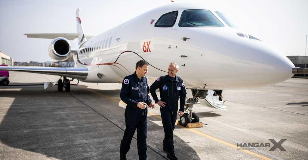 Bruno Ferry y Fabrice Valette, pilotos de prueba del primer vuelo del Dassault Falcon 6X