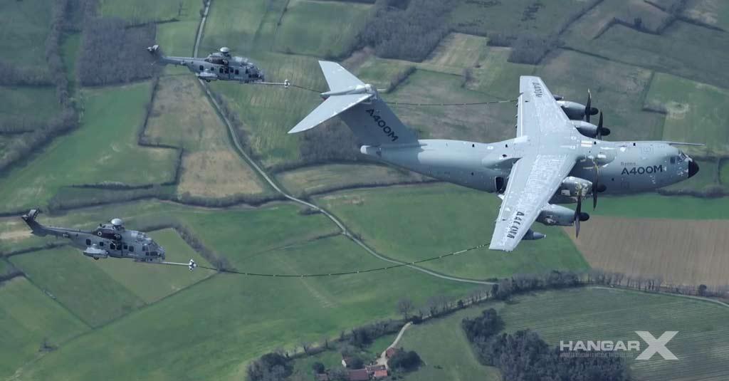 Airbus A400M reabastecimiento de helicópteros en vuelo
